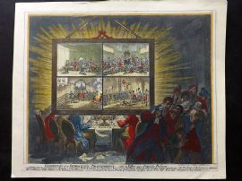 James Gillray 1851 HCol Caricature. Exhibition of a Democratic-Transparency